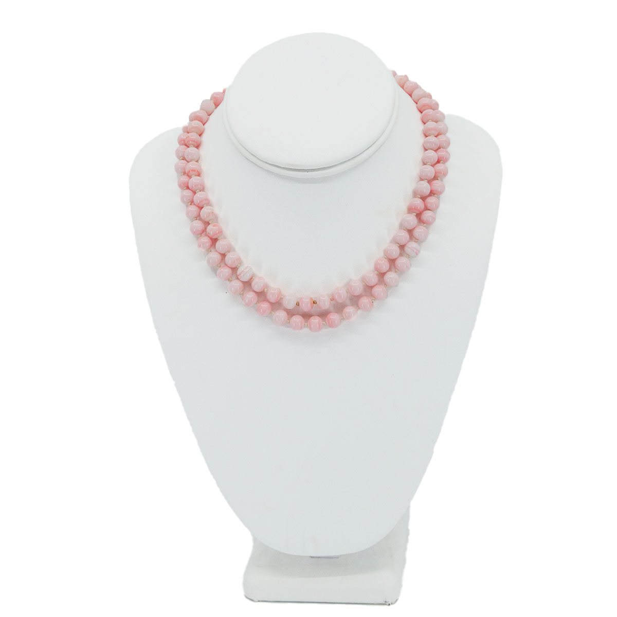 pink glass bead necklace, marbled beads