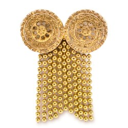ysl gold fringe brooch