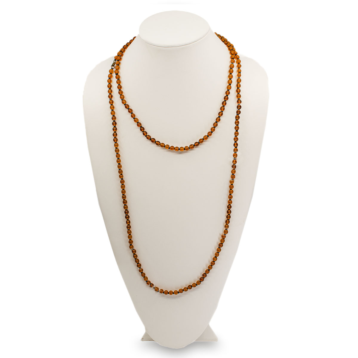 long glass bead necklace, amber beads