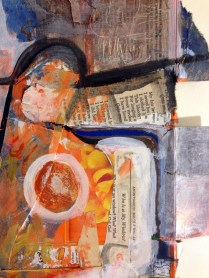 the light awakened something in there DETAIL; Acrylic, collage, ink on cardboard; Image/object: 21 1/2 x 27 inches