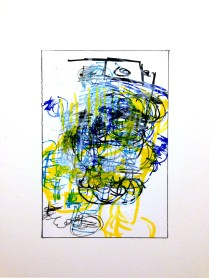 Boxxed I, 2015; 23 potential marker choices, black or white China marker on paper mounted to board; 8x10 inches, object size