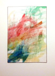 <<>>, 2015; Watercolor, black or white China marker on paper mounted to board; 8x10 inches, object size