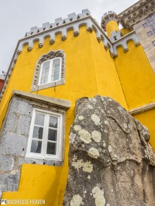 three point perspective, yellow castle walls, moorish architecture, Science Romanticism Pena National Palace