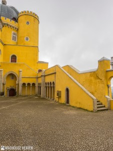 stone courtyard of the yellow castle, european medieval islamic architecture, Romanticism in Science and Sintra