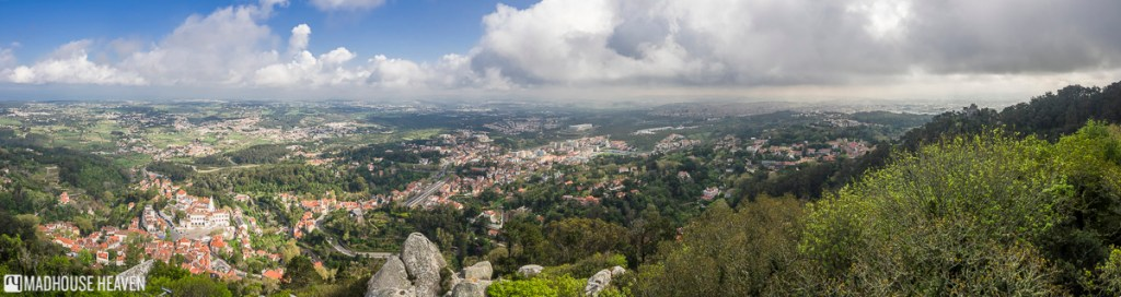 panoramic vista from the Moorish Castle giving a Birds Eye view of Sintra