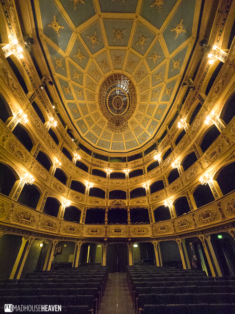 Charming interior of a refurbished Renaissance theatre in the fort city of Valletta