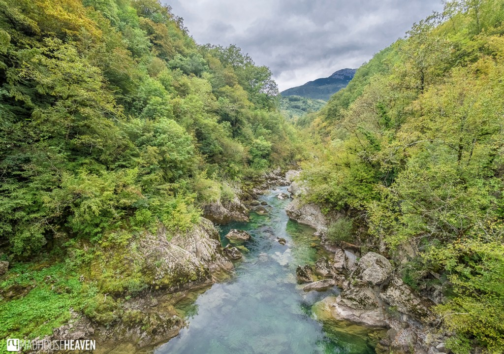 Clear turquoise river running through a canyon, the riverbed visible - Mrtvica Canyon, Montenegro