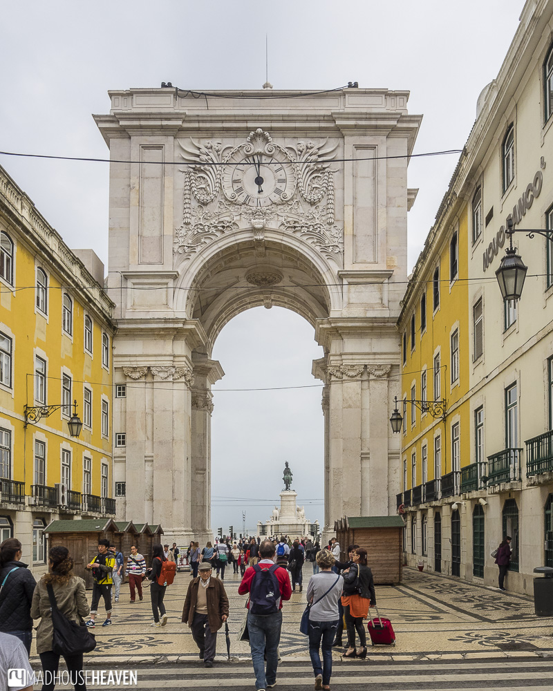 view of Arco da Rua Augusta from the street looking towards Tagus river, Lisbon's Architectural History
