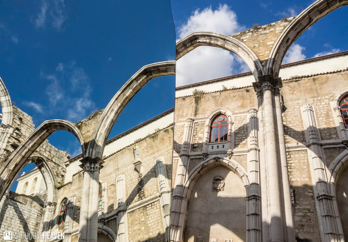 The arches of the cathedral and the blue sky reflected in a mirror, churches of Lisbon