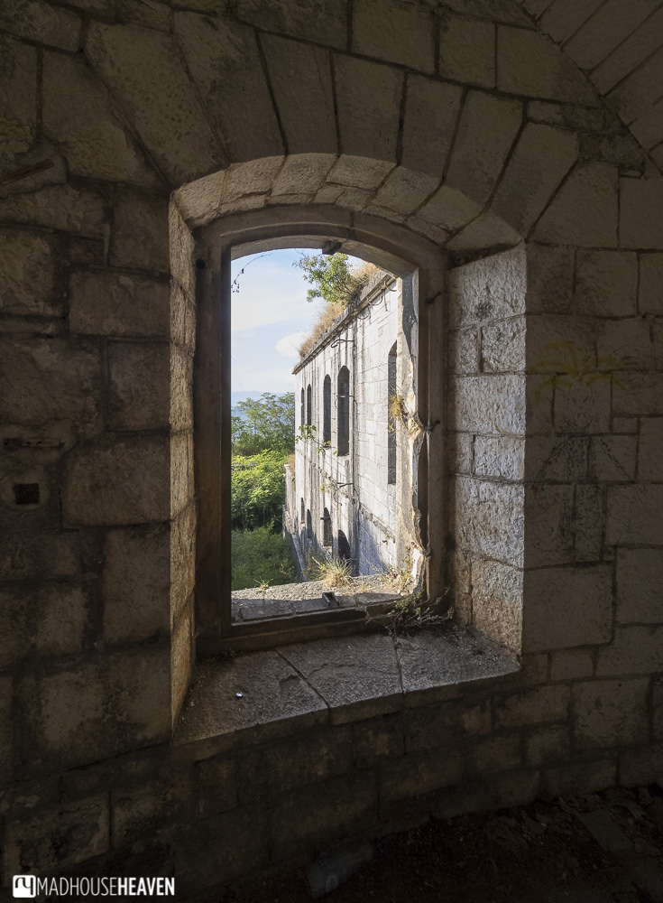 window in cool fortress in montenegro