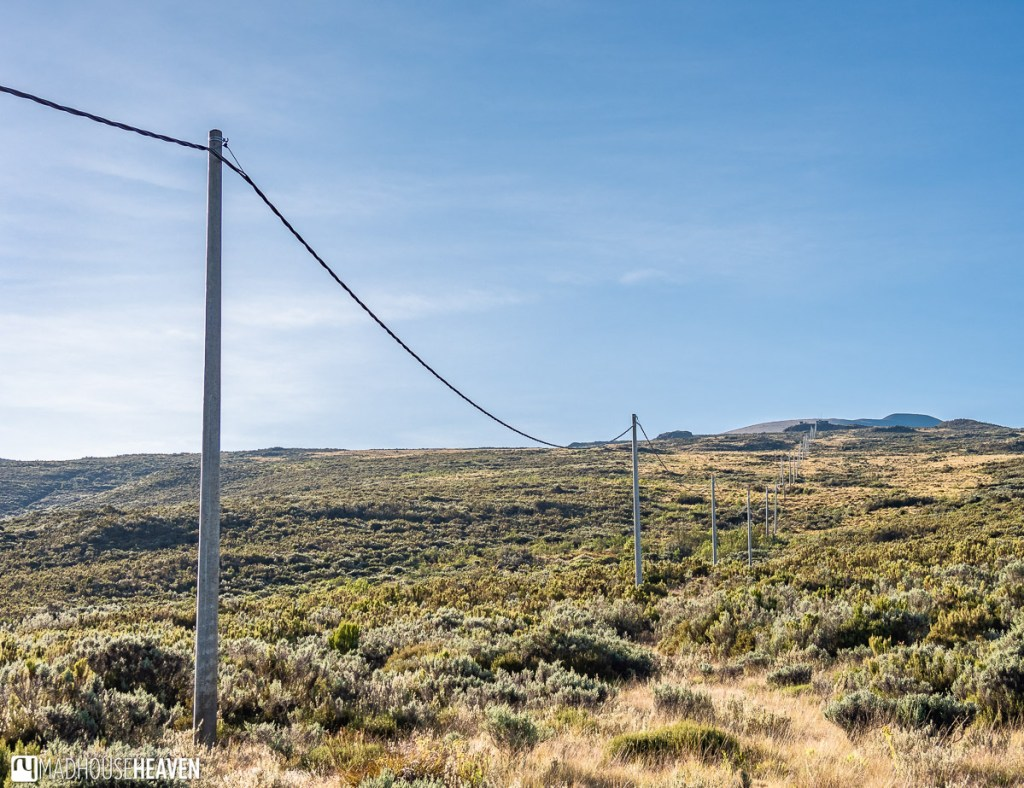 Power line stretches from the Old Moses Camp to the meteorological station on top of the hill