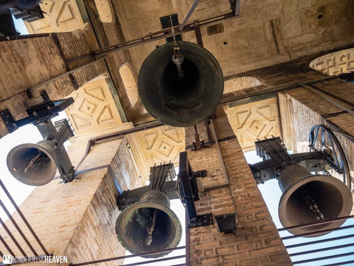 4 of the Giralda Tower bells seen from the highest floor of the Tower
