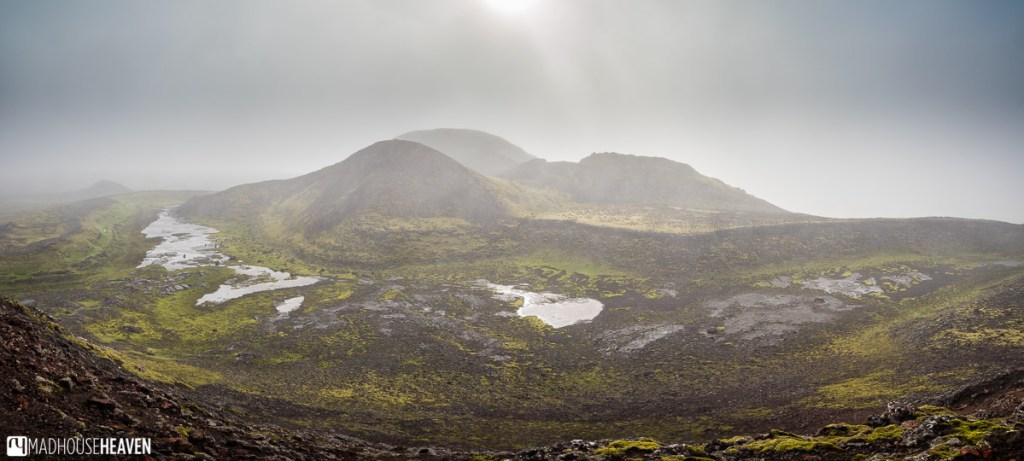Panorama of the Blue Mountains, seen from the top of the Thrihnukagigur Volcano