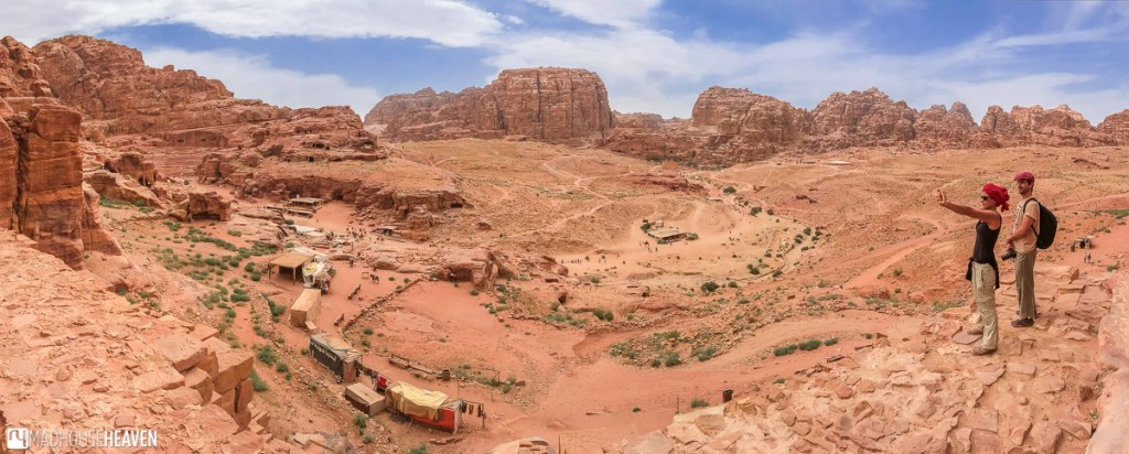 Panorama of Petra, overlooking the Outer Siq and the Street of Facades