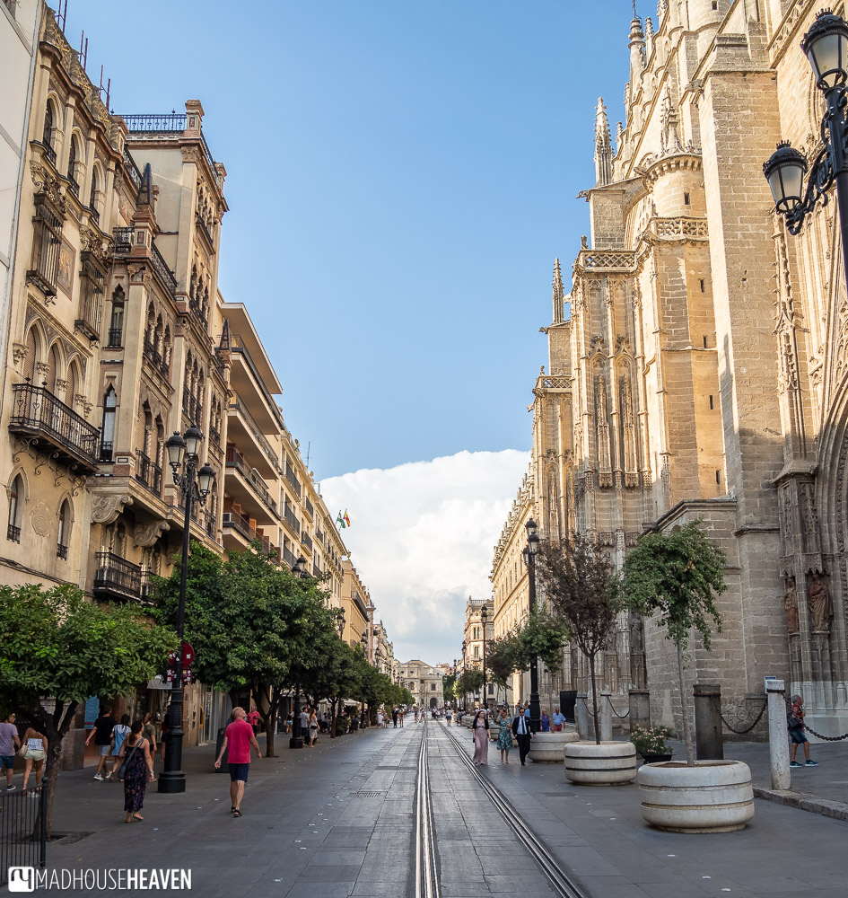 Av. de la Constitución, one of the main streets in Seville, with the Seville Cathedral on the right, and buildings on the left