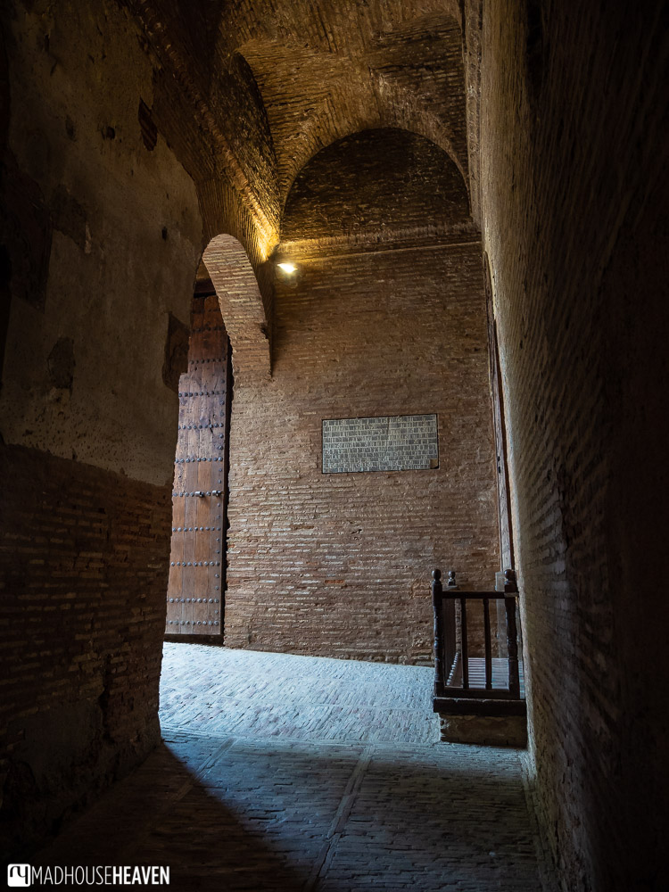 High vaulted ceilings of the Gate of Justice in Alhambra