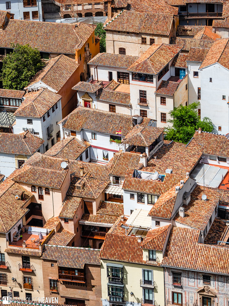 View of the maze-like roofs of Albaicín from the parapets of Alhambra