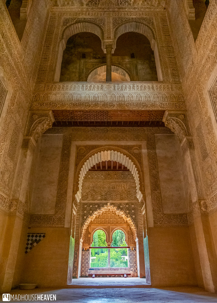 The incredibly intricate and detailed interior of the Infants' Tower in Alhambra