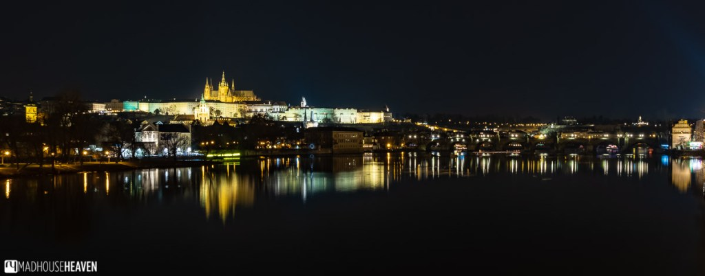 Night panorama of the Prague Castle and the Charles Bridge