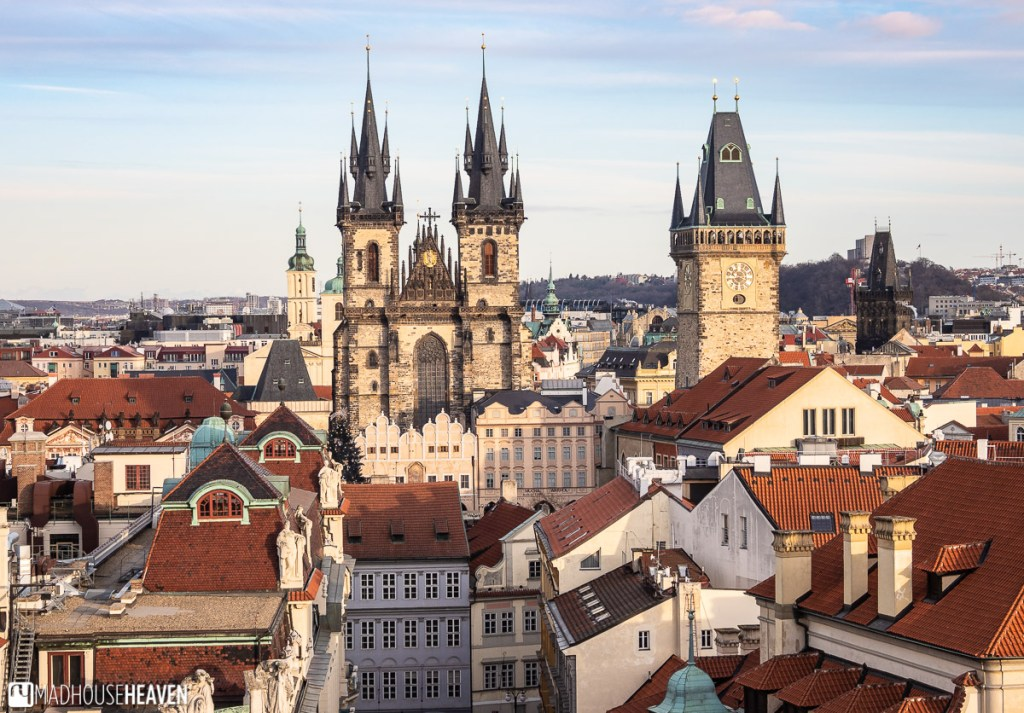 The centre of Prague's old town, with the Lady of Tyn church, the astronomical clock tower and the market square surrounded by buildings