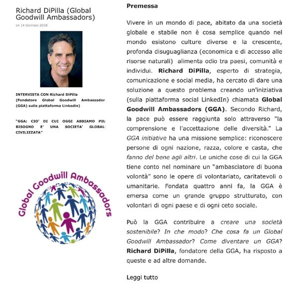 INTERVISTA CON Richard DiPilla - Fondatore Global Goodwill Ambassadors - LongTerm Economy