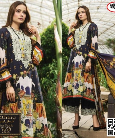 """""""ETHNIC"""" Crystal Linen With Linen Dupatta Neck Embroidery"""