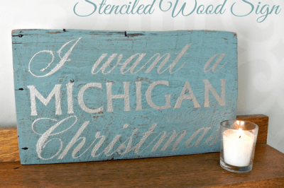 Michigan Christmas Stenciled Wood Sign