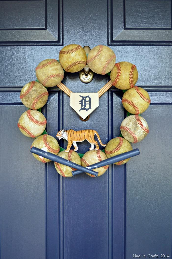 DIY Detroit Tigers baseball wreath on a blue door