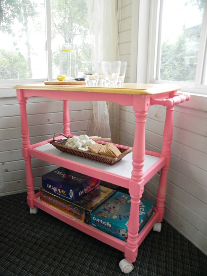 painted rolling bar cart
