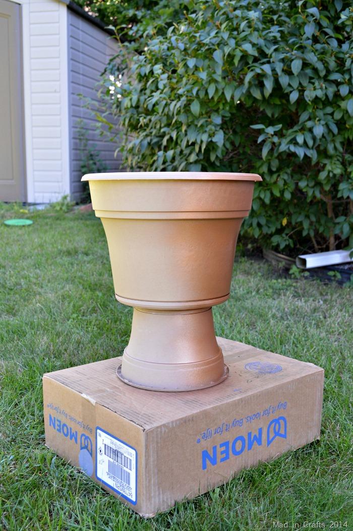 faux bronze pedestal planter plutonium third place metallic