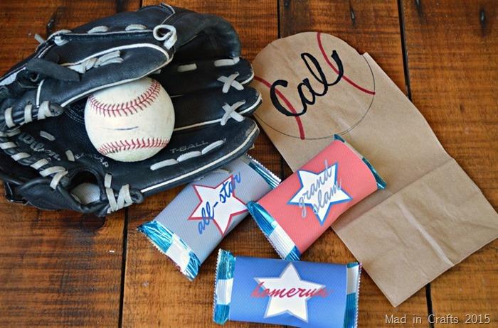 baseball, glove, paper bag, and treats