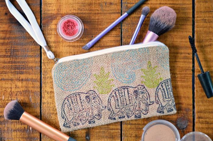 block printed makeup bag