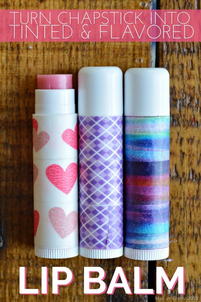 three diy lip balms on a wood table