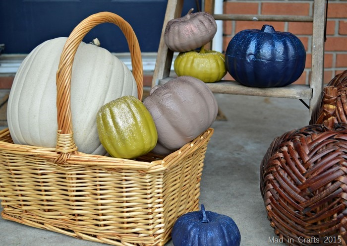 painted and glittered pumpkins
