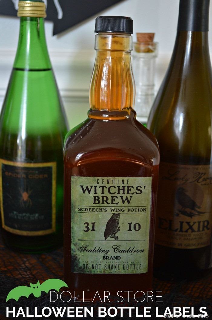Dollar Store Halloween Bottle Labels