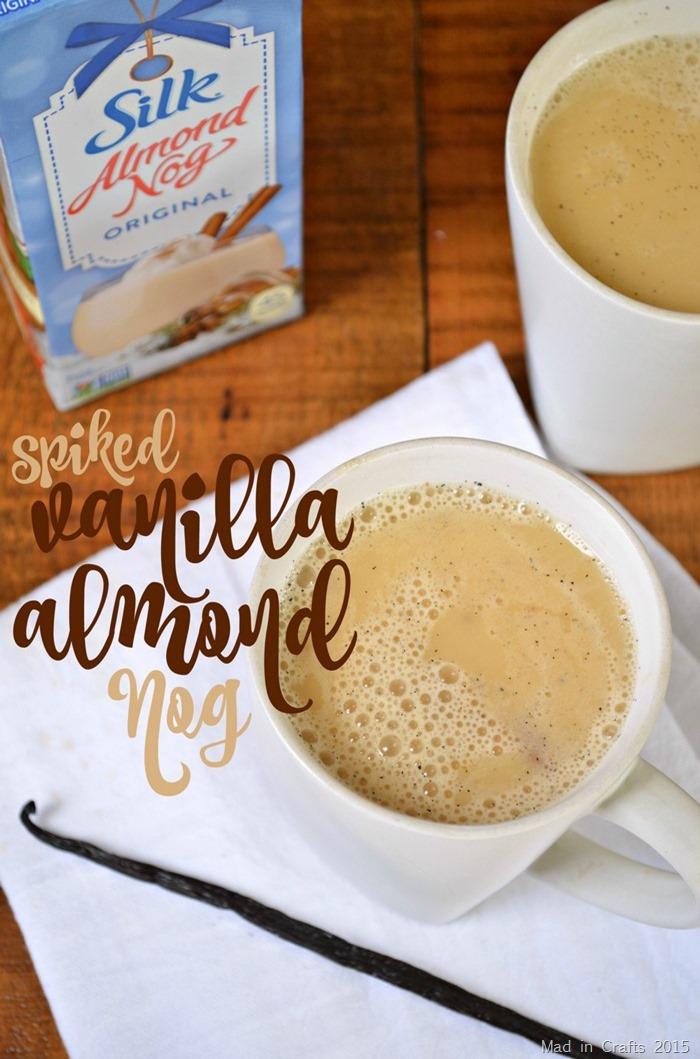 Mug of vanilla almond nog on a napkin on a wood table