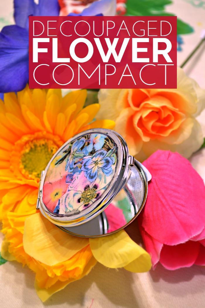 Decoupaged Flower Compact