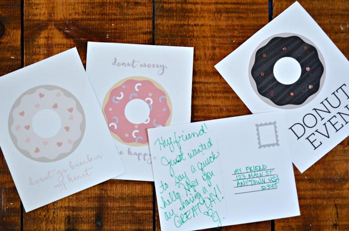 Printable Donut Postcards