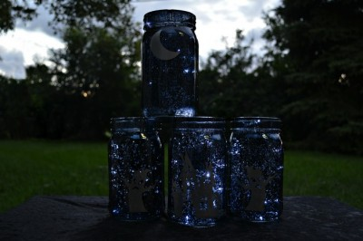 black mason jars with silver vinyl halloween scenes