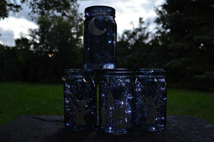 black mason jars with silver vinyl halloween scenes