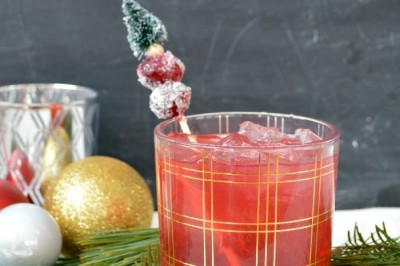 Cranberry cocktail with sugared cranberries