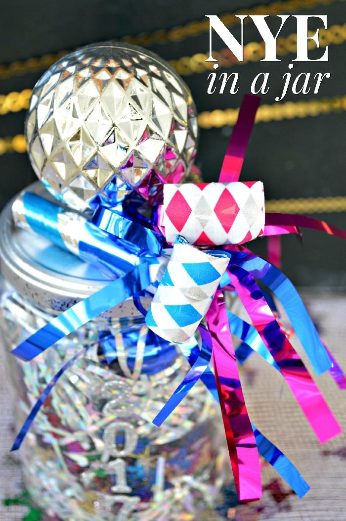 mason jar party horns and tinsel