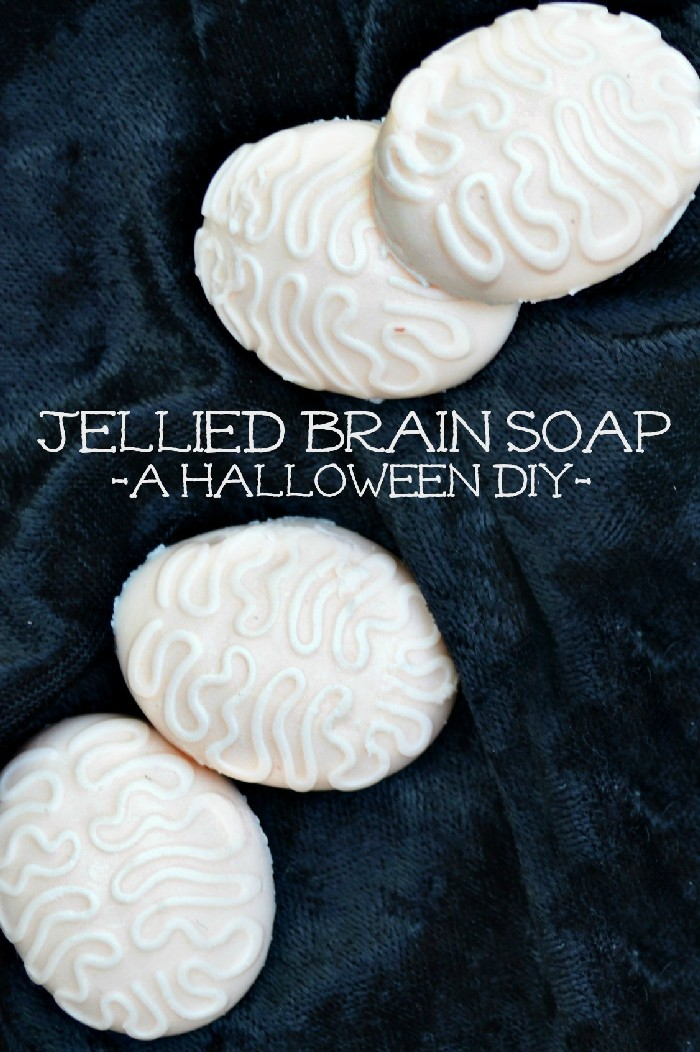 diy halloween jelly soap shaped like brains on a black background
