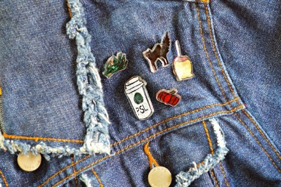 halloween shrink plastic pins on a jean jacket