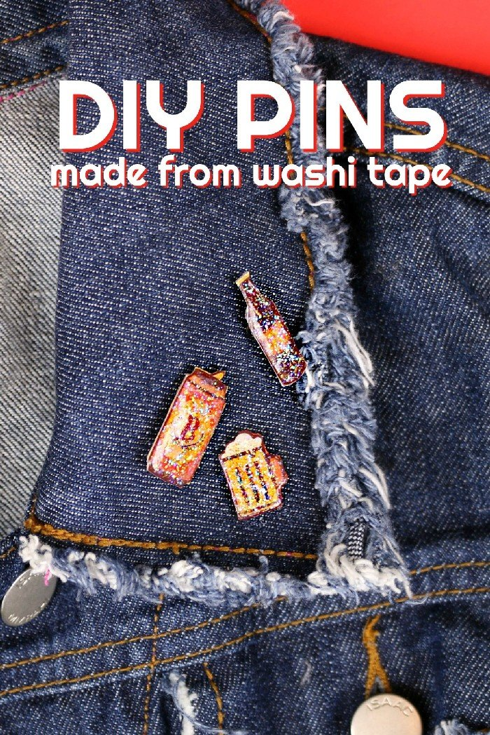 DIY washi tape pins on a jean jacket