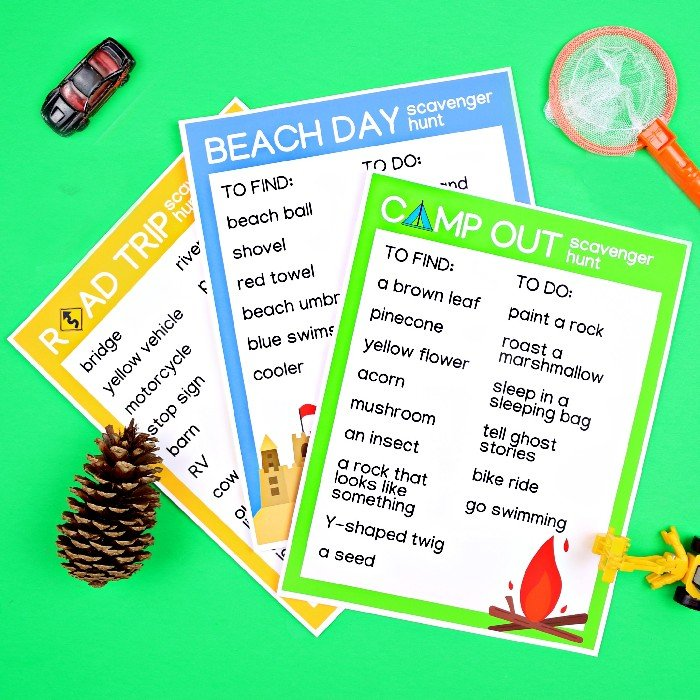 road trip, beach day, and camping scavenger hunt printables with outdoor toys on a green background