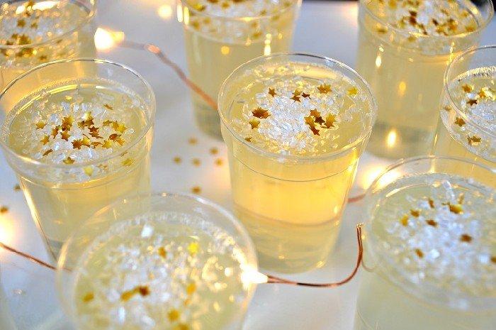 close up of champagne jello shots