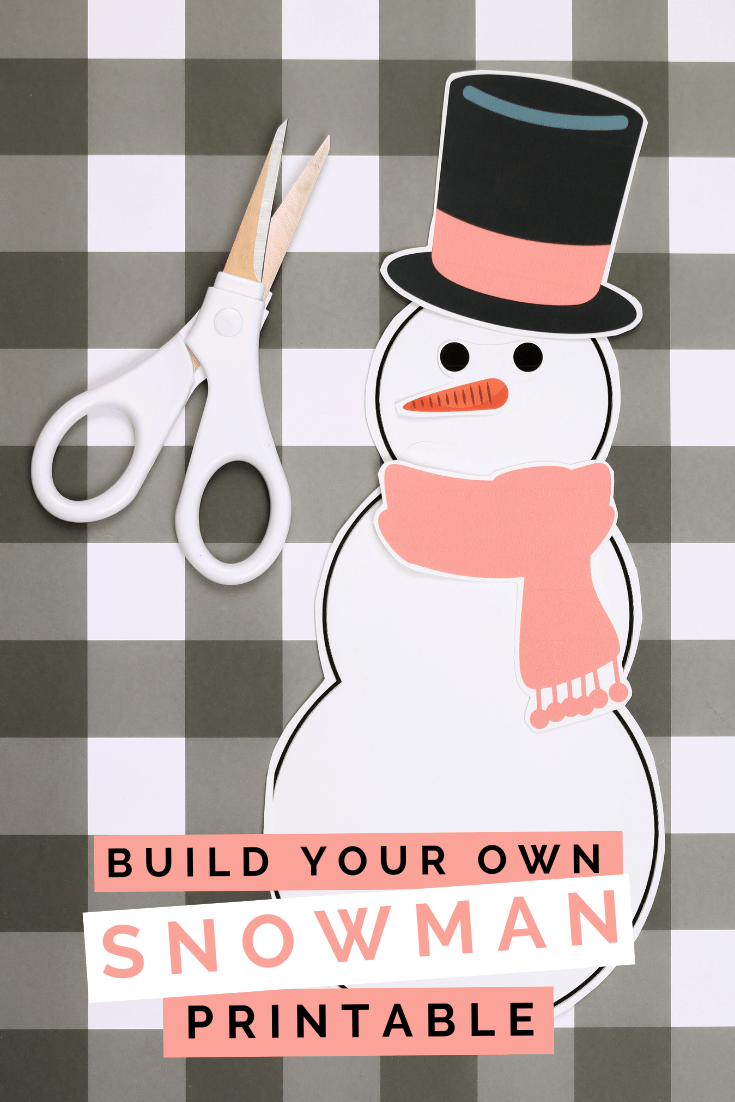 printable snowman paper doll and scissors on a plaid background