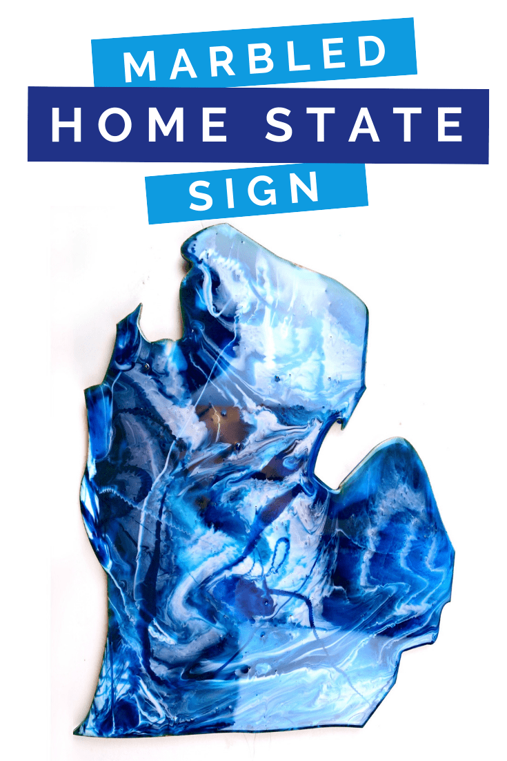 Michigan silhouette sign with blue swirled resin