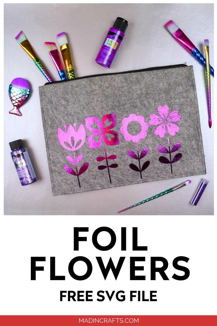FOIL FLOWER ZIPPER POUCH